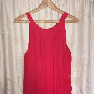 Deep Red high low pleated dress by Avenue
